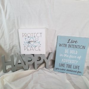 Lot of 3 Inspirational Signs | Peace & Happiness